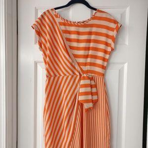 Gabby Skye Orange Striped Dress